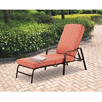 Amazon Com Mainstays Chaise Lounge Orange Geo Pattern