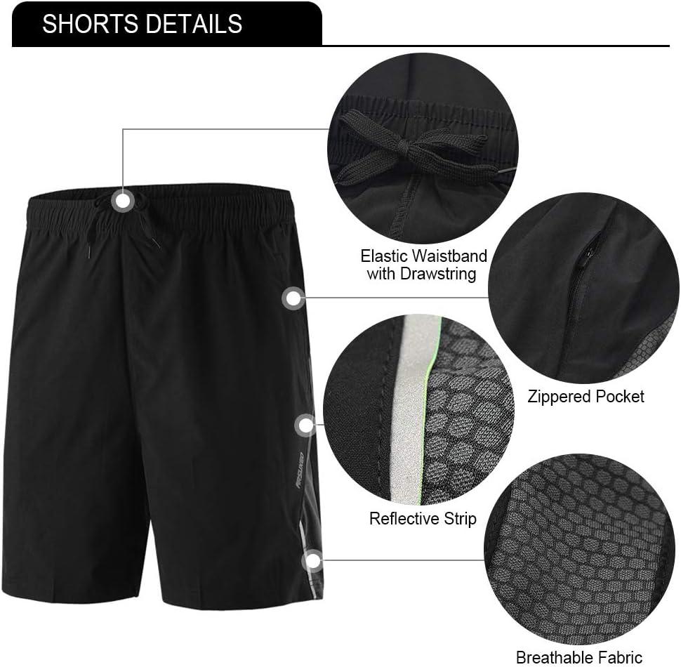 Festnight 3Pcs Men Workout Clothes Set Compression Pants Camicia a Maniche Corte e Pantaloncini Aderenti per Ciclismo Corsa Sport Palestra Fitness