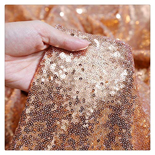 QueenDream Rose Gold Sequin Fabric 4 Yards Rose Gold Christmas Sequin Fabric Sequins Tablecloth Long Sequin Tablecloth DIY Party Dress Fabric ()