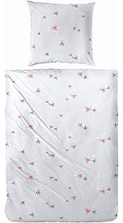 4-tlg Bettwäsche Feinbiber Baumwolle 135x200 Mandala grau rosa Winter OekoTex