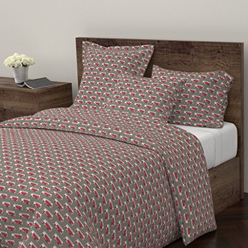 ver Firetruck Trendy Baby Boy Red Little Arrow Fire Truck Fabric by Littlearrowdesign 100% Cotton Twin Duvet Cover ()