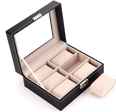 Caja Estuche Organizador de Relojes, Contraste elegante masculino elegante caja de reloj Moda Display caso del almacenaje del sostenedor del organizador del escaparate de regalos de costura 6 Slots Cl: Amazon.es: Hogar