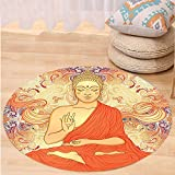 Kisscase Custom carpetAsian Yoga Decor Meditation Aura Thai Temple Ornamental Motive Spiritual Design Print Bedroom Living Kids Girls Boys Room Dorm Accessories Orange Purple