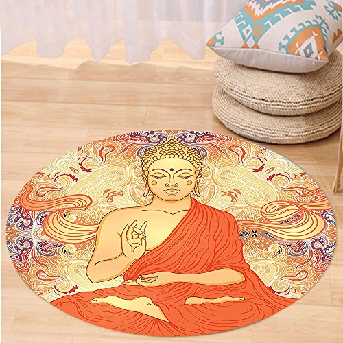 VROSELV Custom carpetAsian Yoga Decor Meditation Aura Thai Temple Ornamental Motive Spiritual Design Print Bedroom Living Kids Girls Boys Room Dorm Accessories Orange Purple Round 79 inches by VROSELV