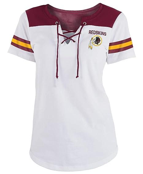 b5c50413 New Era Washington Redskins Women's Sleeve Striped Lace-Up T-Shirt