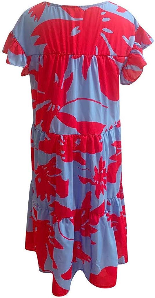 ITISME Vestito Donna Estivo Elegante Comode Manica Corta Abito Vintage Vestiti Sciolto Folds Abiti da Spiaggia Cocktail Midi