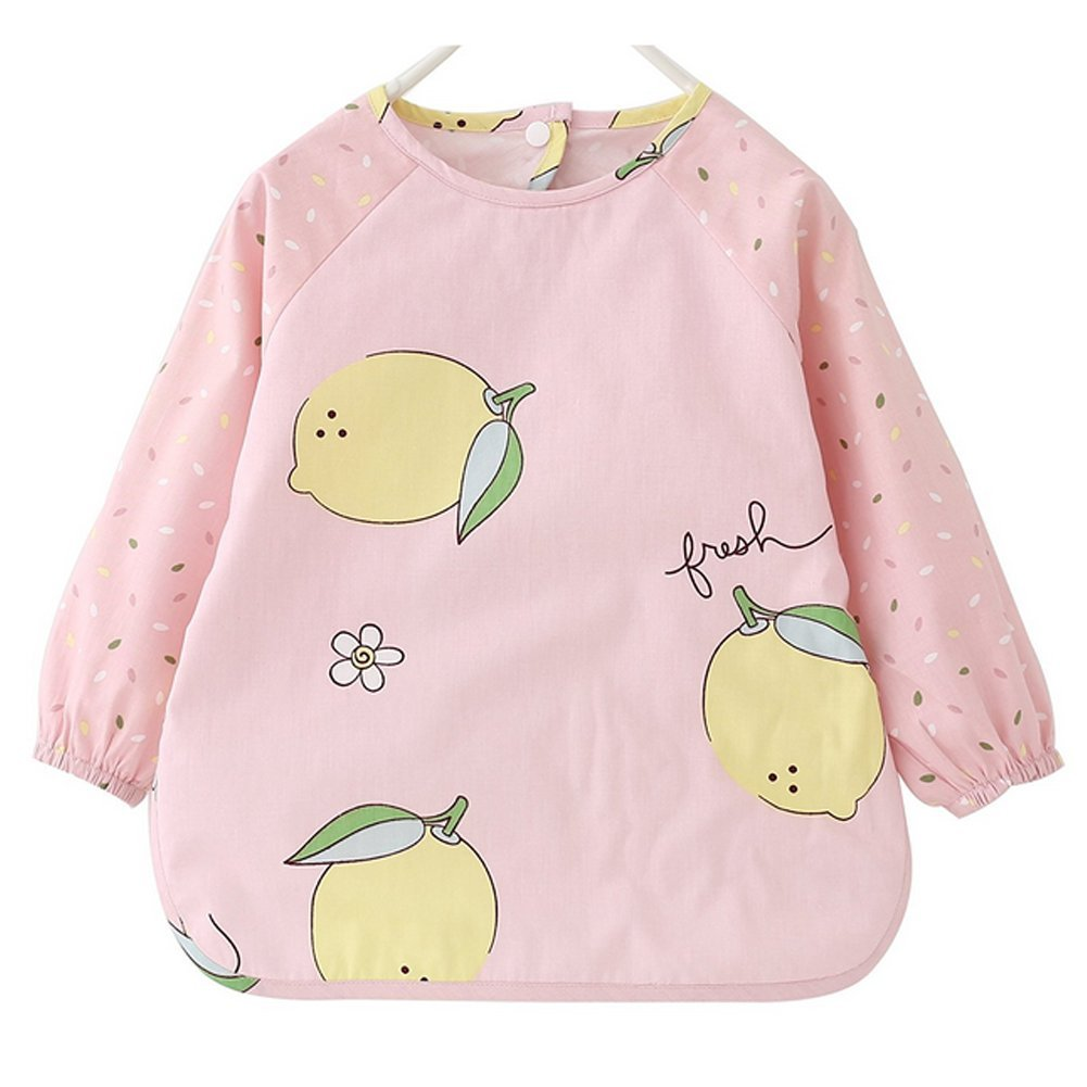 ZooArts Long Sleeved Bib Waterproof Bibs With Pocket Baby Waterproof Sleeved Bid Apron Kids Smock for 1-5Years Lemon)