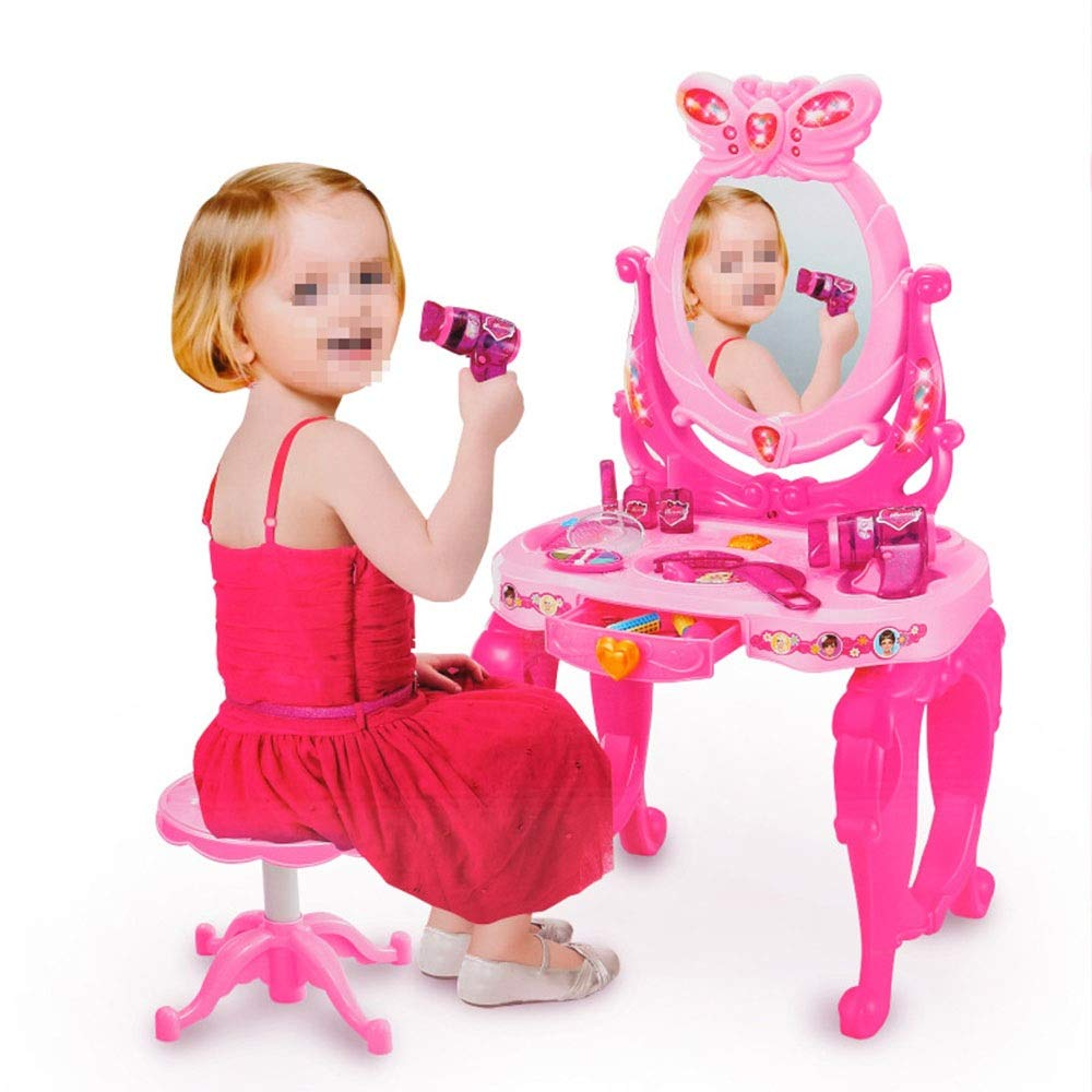 Girls Dressing Table Set Pretend Play Kids Vanity Table and Chair Beauty Mirror and Accesories Play Set with Fashion & Makeup Accessories for Girls (Color : Pink, Size : 734531cm)