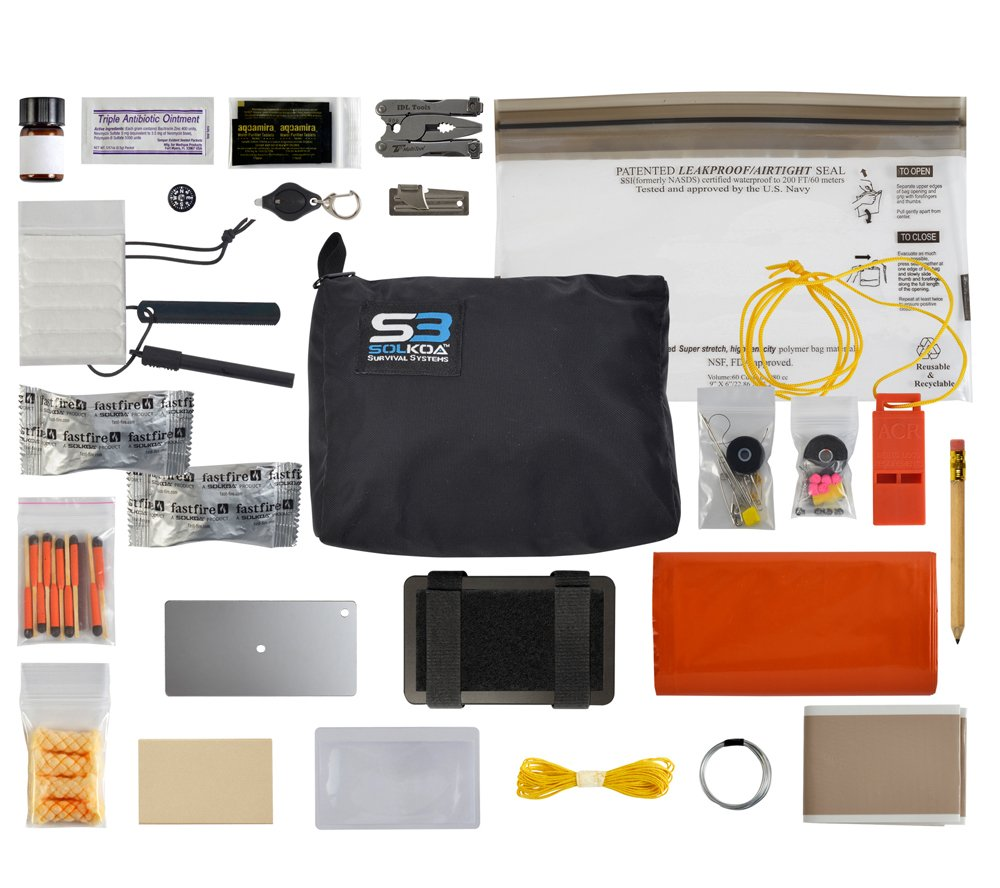 SUMA Elite Professional Grade Survival Kit, Small (BLACK) SOLKOA Survival Systems