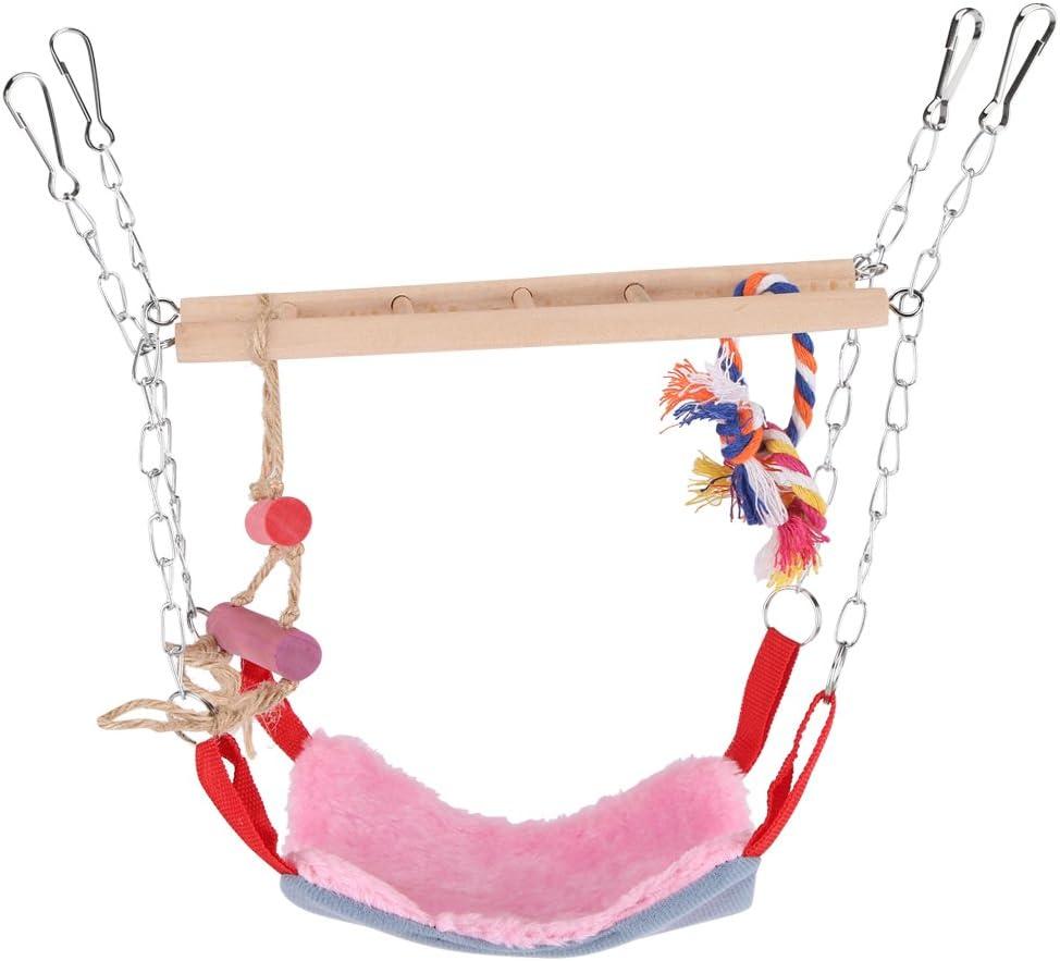 Fdit Juguete de Aves Loro Escalada Juguete Escalera de Oscilación Colorida con Accesorios de Cama Puentes Colgantes para Mascotas(Rosa)