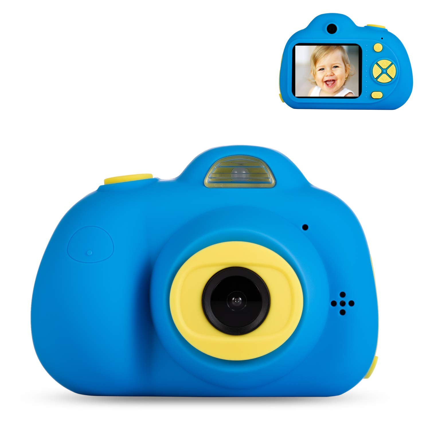 Deeteck Kids Video Camera for Girls Boys, 2 inch Mini Digital Camera,Shockproof Children Camcorders, Toys for 5-9 year old Boys Birthday Gifts with 16GB SD Card(Blue) by Deeteck (Image #1)