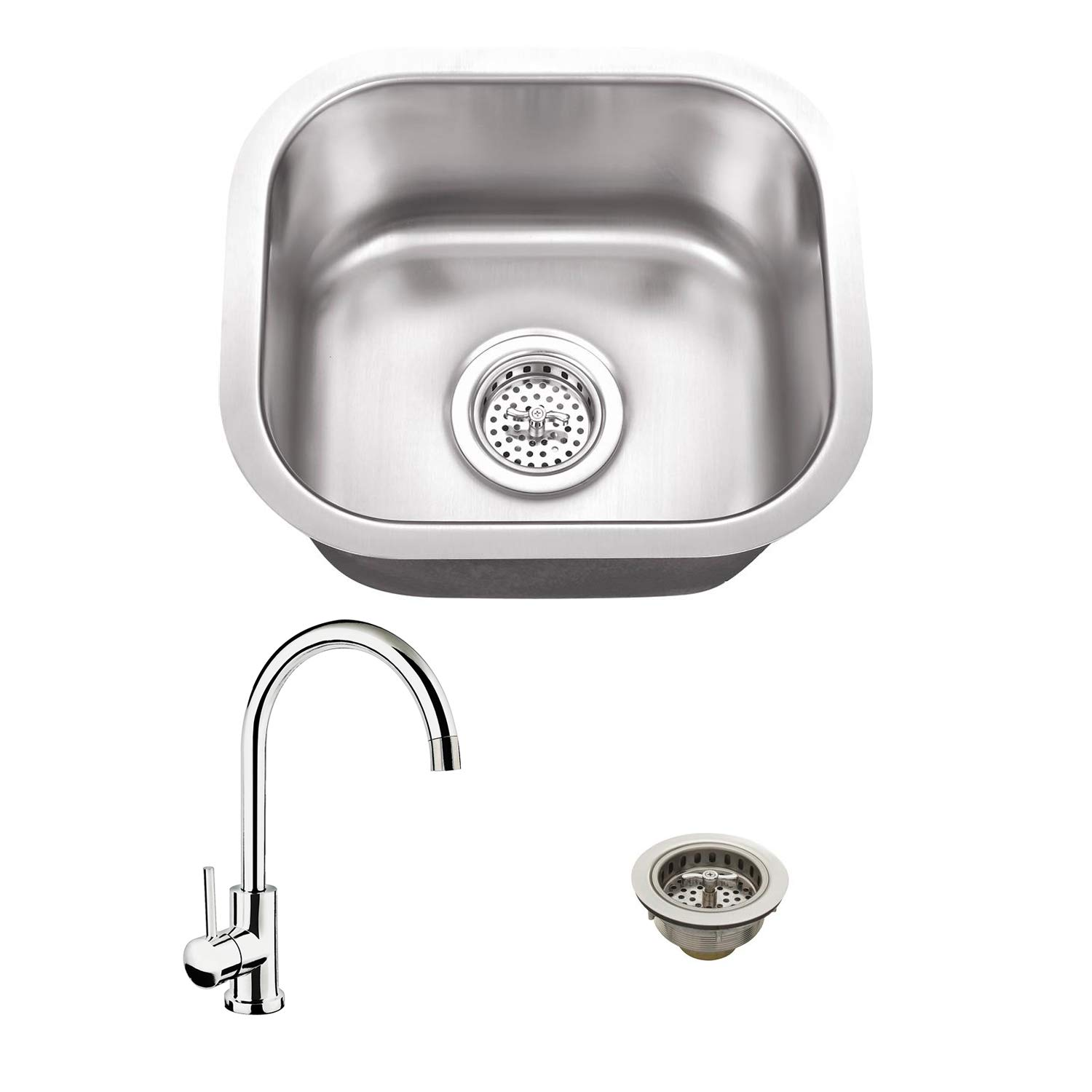 14-1/2-in x 13-in 18-Gauge Stainless Steel Single Bowl Bar Sink and Gooseneck Kitchen Faucet by Magnus Sinks