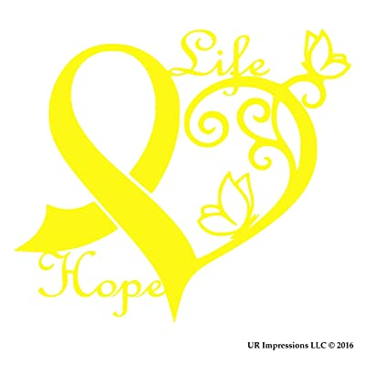 UR Impressions BYel Cancer Awareness Ribbon Heart Butterfly Vine - Life Hope Decal Vinyl Sticker Graphics Car Truck SUV Van Wall Window Laptop|Bright Yellow|6.4 X 5.5 Inch|URI442-BY: Automotive [5Bkhe1505199]