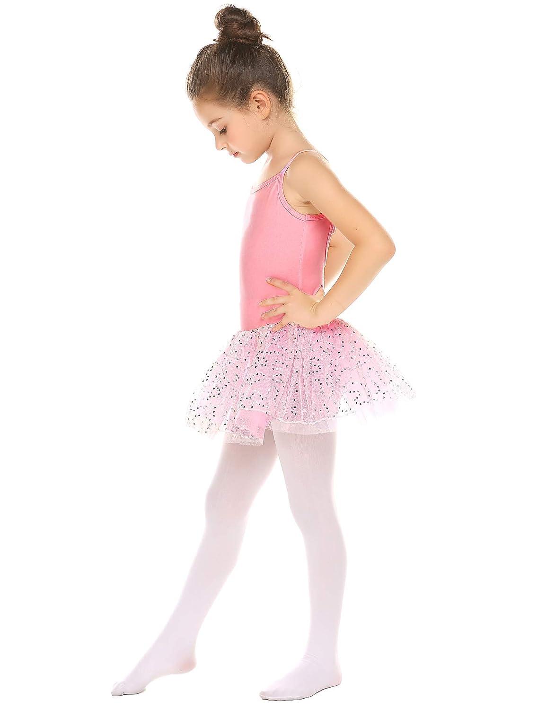 Bricnat con Falda y Lazo sin Mangas Maillot de Ballet para ni/ña de algod/ón