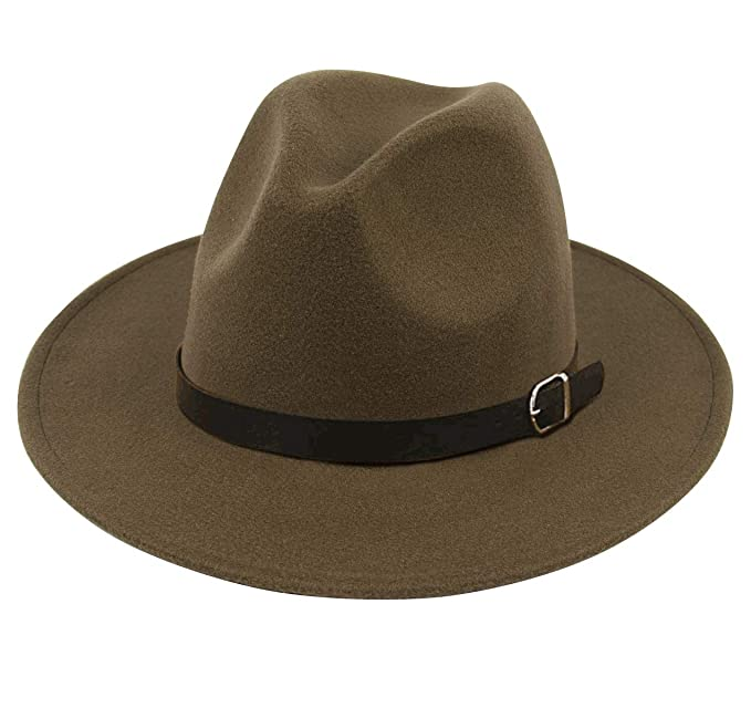 341f34714025ca Lanzom Women Men Retro Style Wide Brim Panama Hat Belt Buckle Wool Fedora  Hat (Army