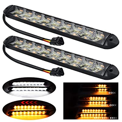 YEERON 2 In1 Fuction Arrow LED DRL Strip Switchback Dual-Color Amber/White Waterproof LED Flexible Lights for DRL & Turn Signal Lights.(White+Amber)2-pack.: Automotive