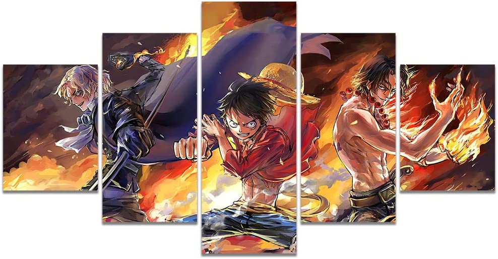 Anime One Piece Luffy Ace Sabo Three Brothers Poster Print on Canvas Painting for Living Room Decor Wall Art (Unframed, Three Brothers 4)