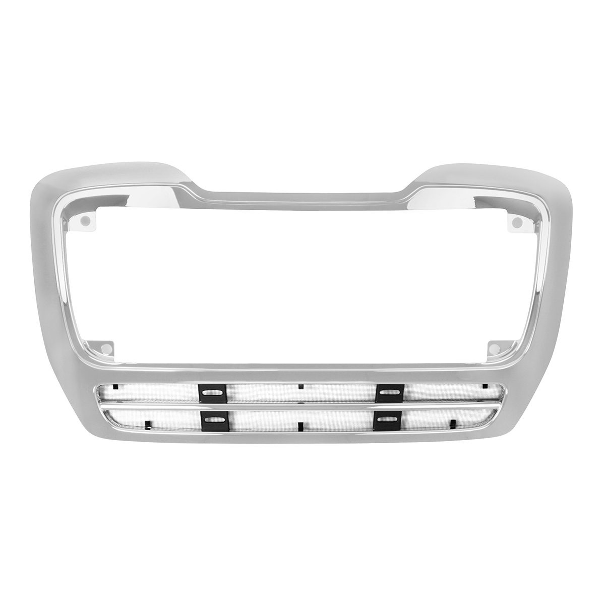 Grand General 89304 Chrome Plastic Grille Surround with Black Steel Bug Screen for M2 112 Freightliner