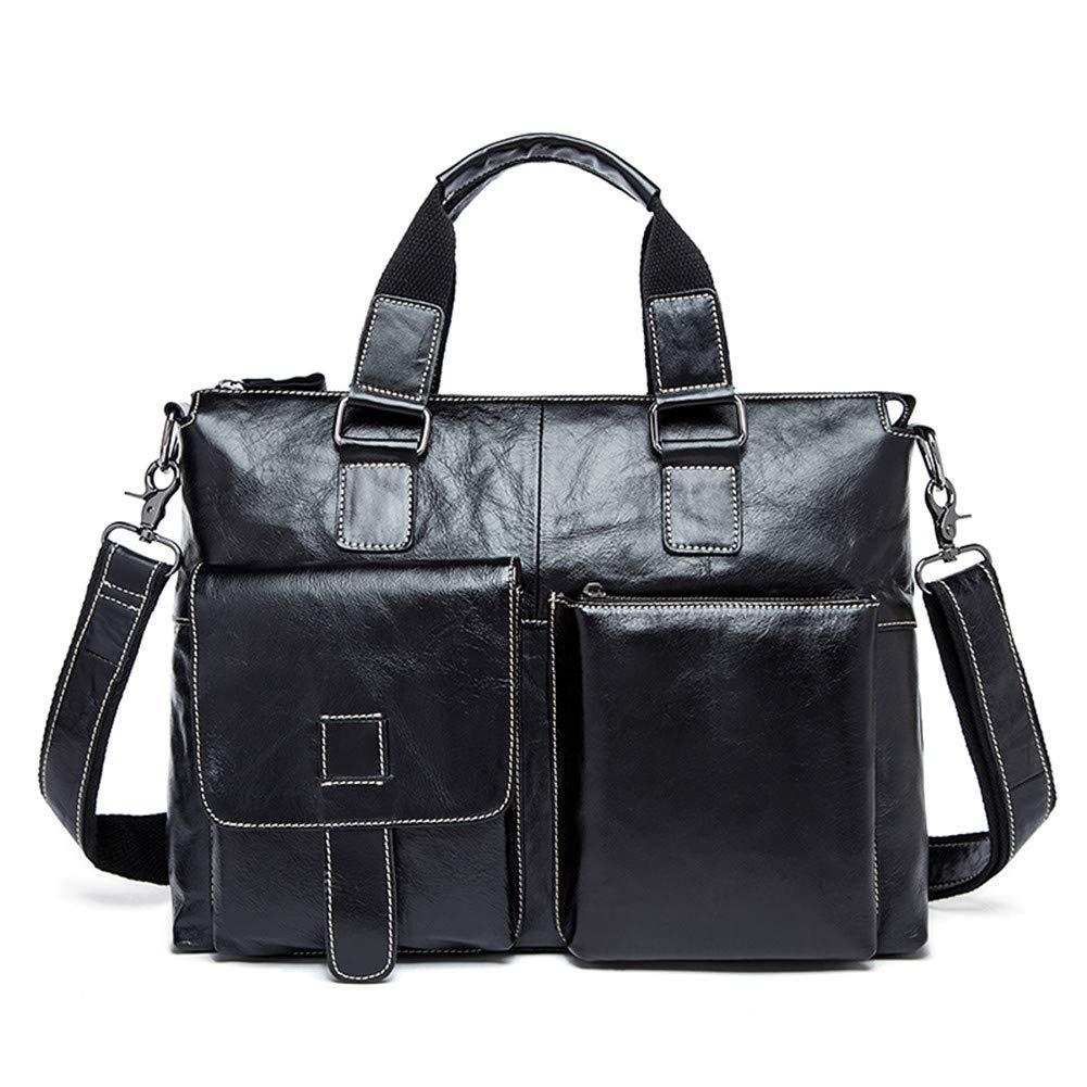 X-xyA Men's Genuine Leather Briefcase Business Travel Casual Tote Attache Case Shoulder Messenger Bag Laptop Bags,BlackandWhiteLines