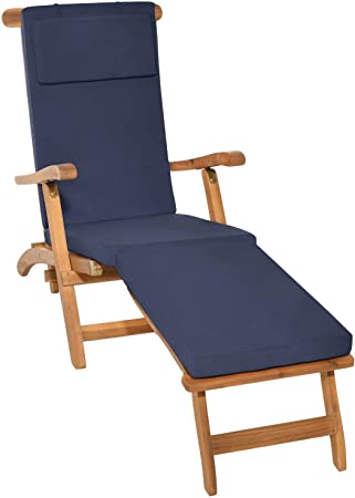 Beautissu Cuscino per Sedia a Sdraio LoftLux DC 175x45x5cm Cuscino sfoderabile per sedie e poltrone da Giardino Blu