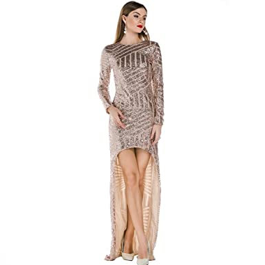 52e5aabf75 Missord Long Sleeve Hollow Out Back Sequined Prom Party Maxi Dress Gold  X-Small