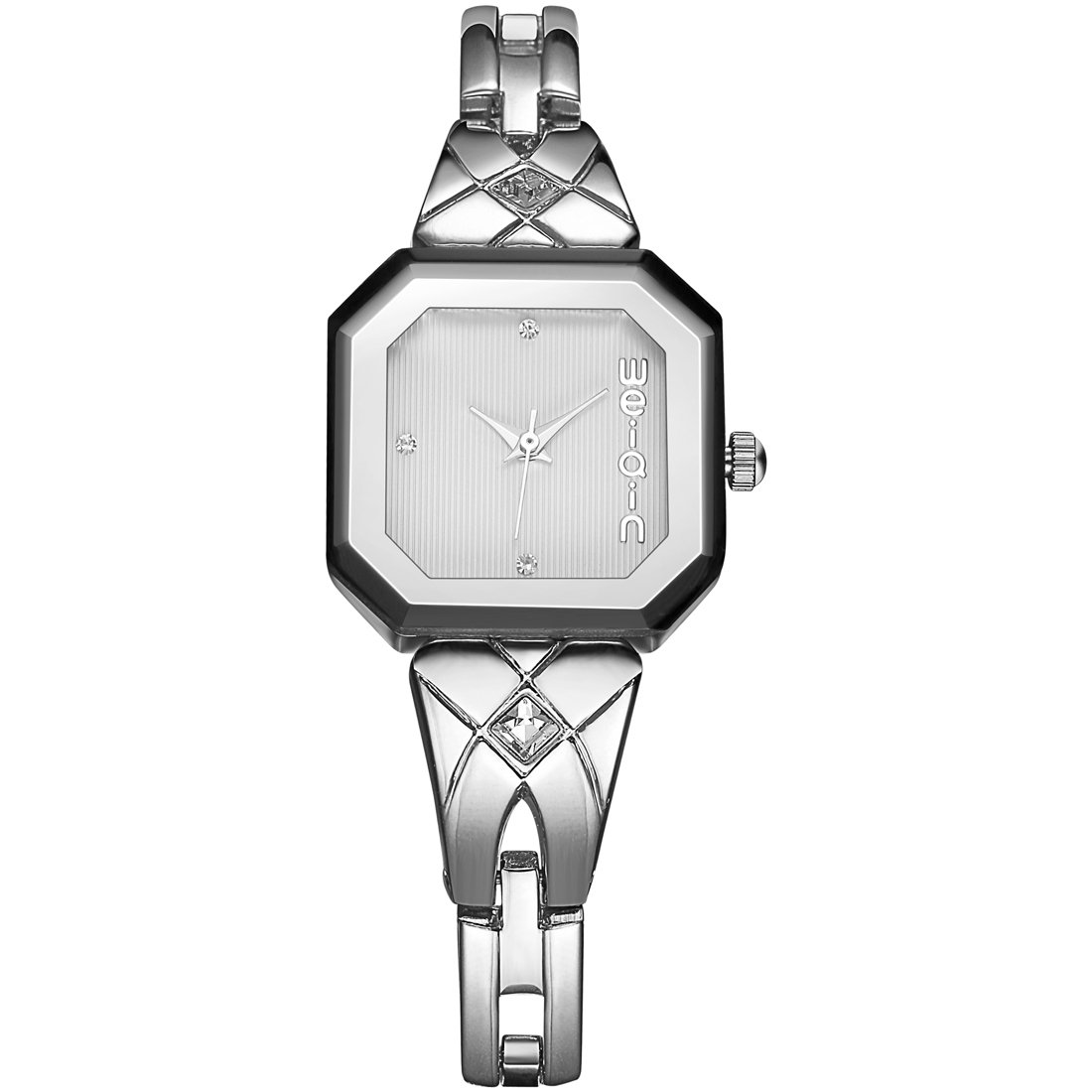 418902 Fashionable And Elegant Rectangle Dial Rhinestone Scale Quartz Jewelry Bracelet Wrist Watch With Alloy Band For Women (Color : Silver)