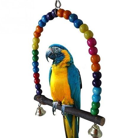 SMARTrich Jaula de madera para pájaros, juguete para loro ...