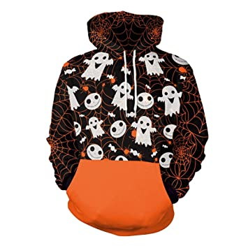Unisex Hoodies Sweatshirt Halloween Ghost 3D Print Long Sleeve Hooded  Pullover Sweatshirts Pockets for Men and 43965e59af05