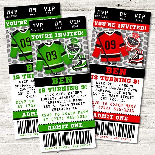 Ice Hockey Birthday Party Ticket Invitations -