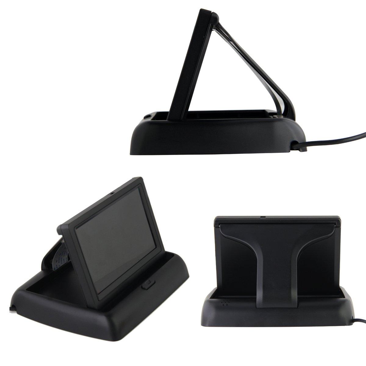 Phansthy 10,9/cm pliable moniteur LCD TFT et universel HD Couleur Vision de nuit avant de voiture de plaque dimmatriculation//cam/éra de recul avec /étanche Large Angle de vue