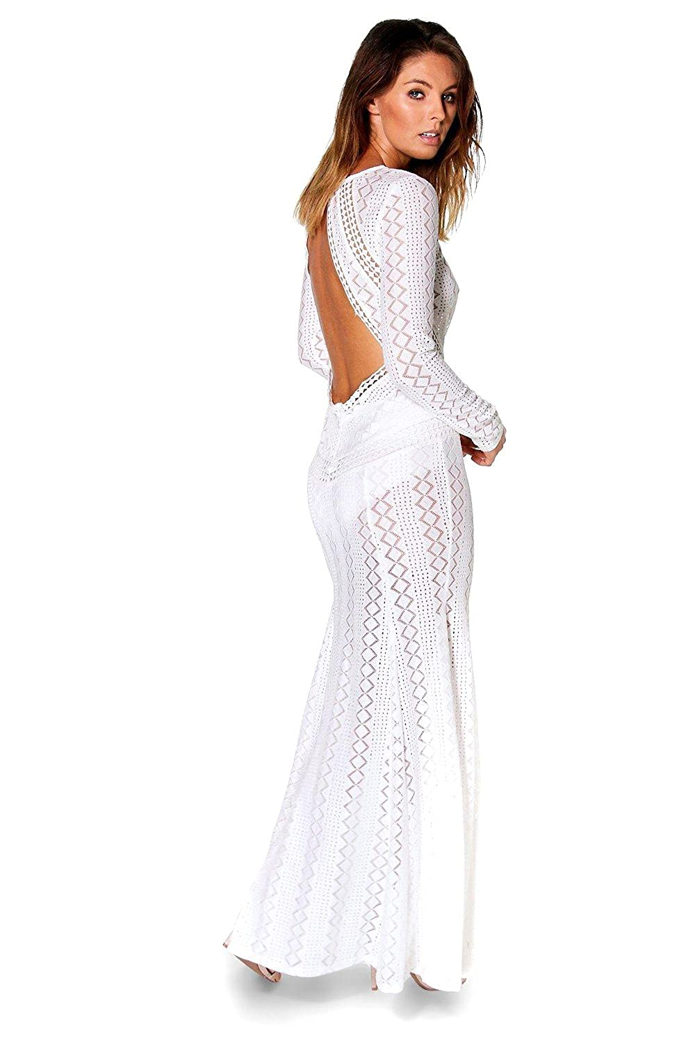 White Womens Boutique Danerys Lace Open Back Maxi Dress