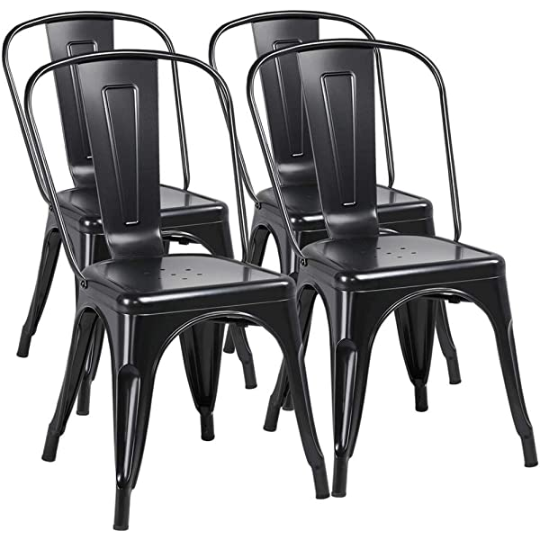 Pleasant Amazon Com Fdw Metal Dining Chairs Set Of 4 Indoor Outdoor Short Links Chair Design For Home Short Linksinfo