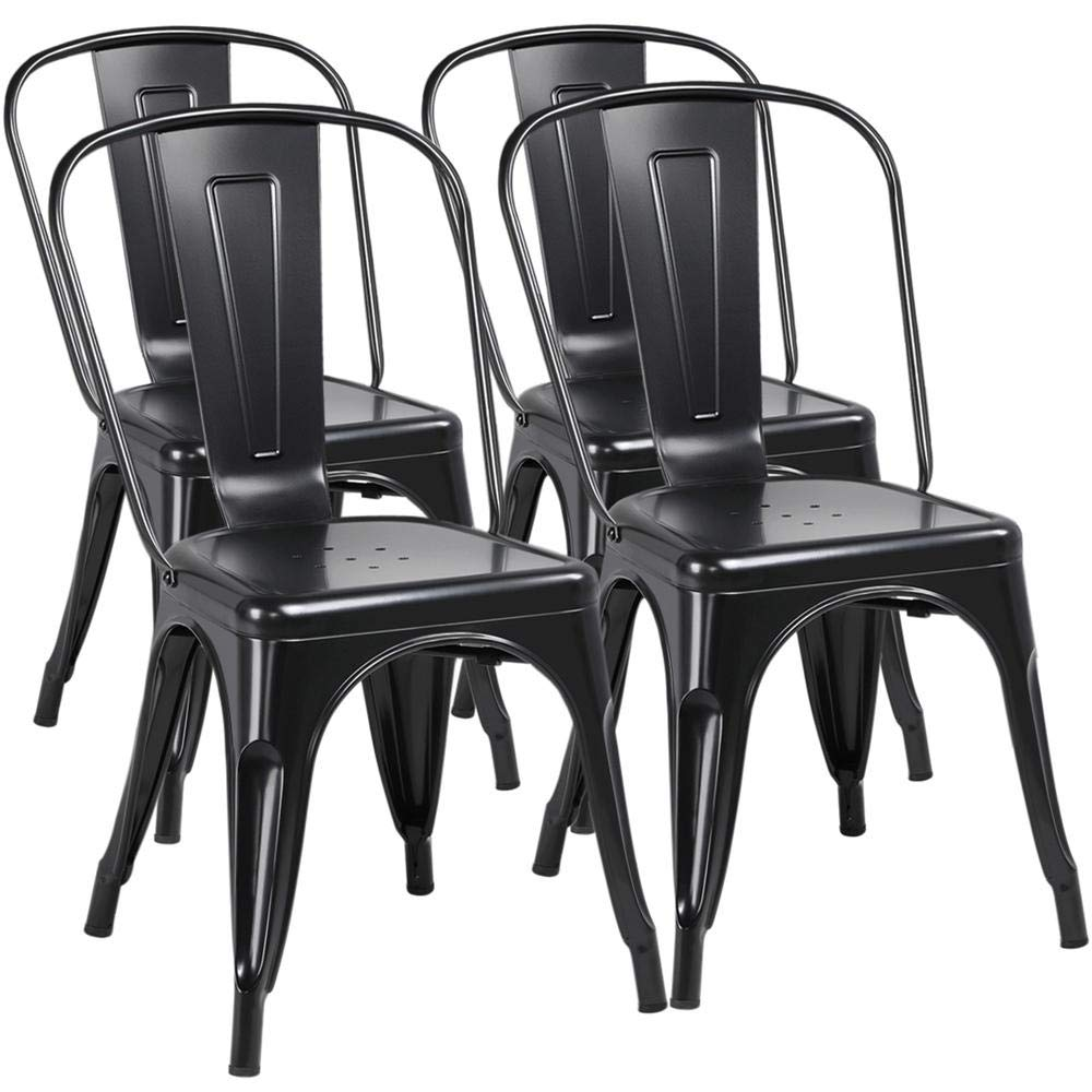 Yaheetech Iron Metal Dining Chairs Stackable Side Chairs Tolix Bar Chairs with Back Indoor/Outdoor Classic/Chic/Industrial/Vintage Bistro Café Trattoria Kitchen Restaurant Black, Set of 4 by Yaheetech