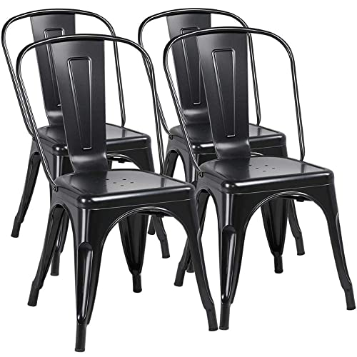Yaheetech Iron Metal Dining Chairs Stackable Side Chairs Tolix Bar Chairs with Back Indoor Outdoor Classic Chic Industrial Vintage Bistro Caf Trattoria Kitchen Restaurant Patio Black, Set of 4