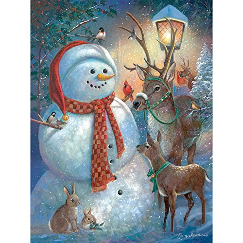 Bits and Pieces - 300 Piece Jigsaw Puzzle for Adults - Snowman Welcome - 300 pc Christmas Reindeer Winter Jigsaw by Artist Ruane Manning