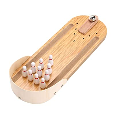LNLW Wooden Mini Desktop Bowling Game Toy Set Fun Indoor Parent-Child Interactive Table Game Bowling Developmental Toy: Home & Kitchen