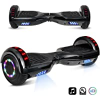 """6.5"""" inch Chrome Hoverboard Electric Smart Self Balancing Scooter With Built-In Bluetooth Speaker LED Wheels and LED Side Lights- UL2272 Certified"""