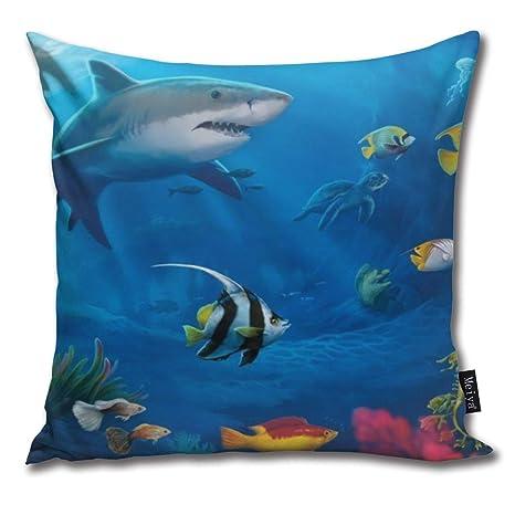 Elsaone Mundo Submarino Tiburón Colorido Patrón de Peces ...