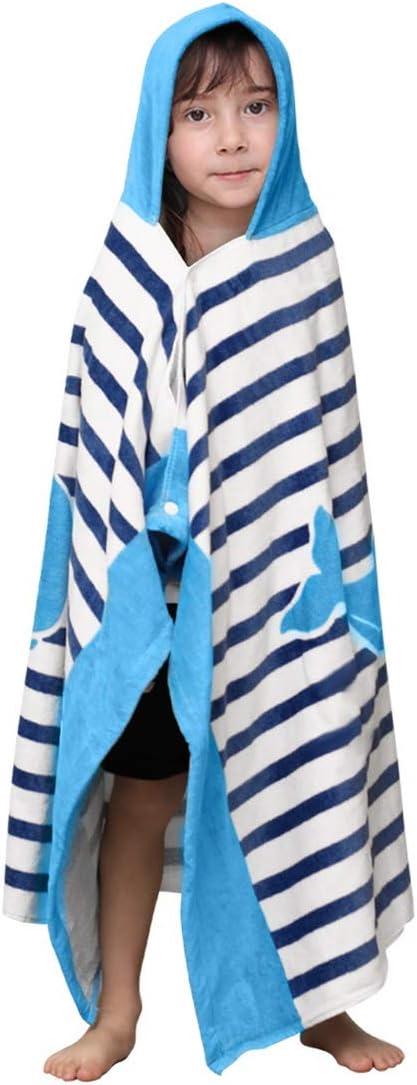 CDJX Kids Bath Towel,Mermaid//Crocodile//Shark//Dinosaur Patterns Kids Hooded Beach Bath Towel for Age 2-7 Years,Poncho Towel Ultra Soft Super Absorbent for Swimming//Bath//Pool//Beach Times