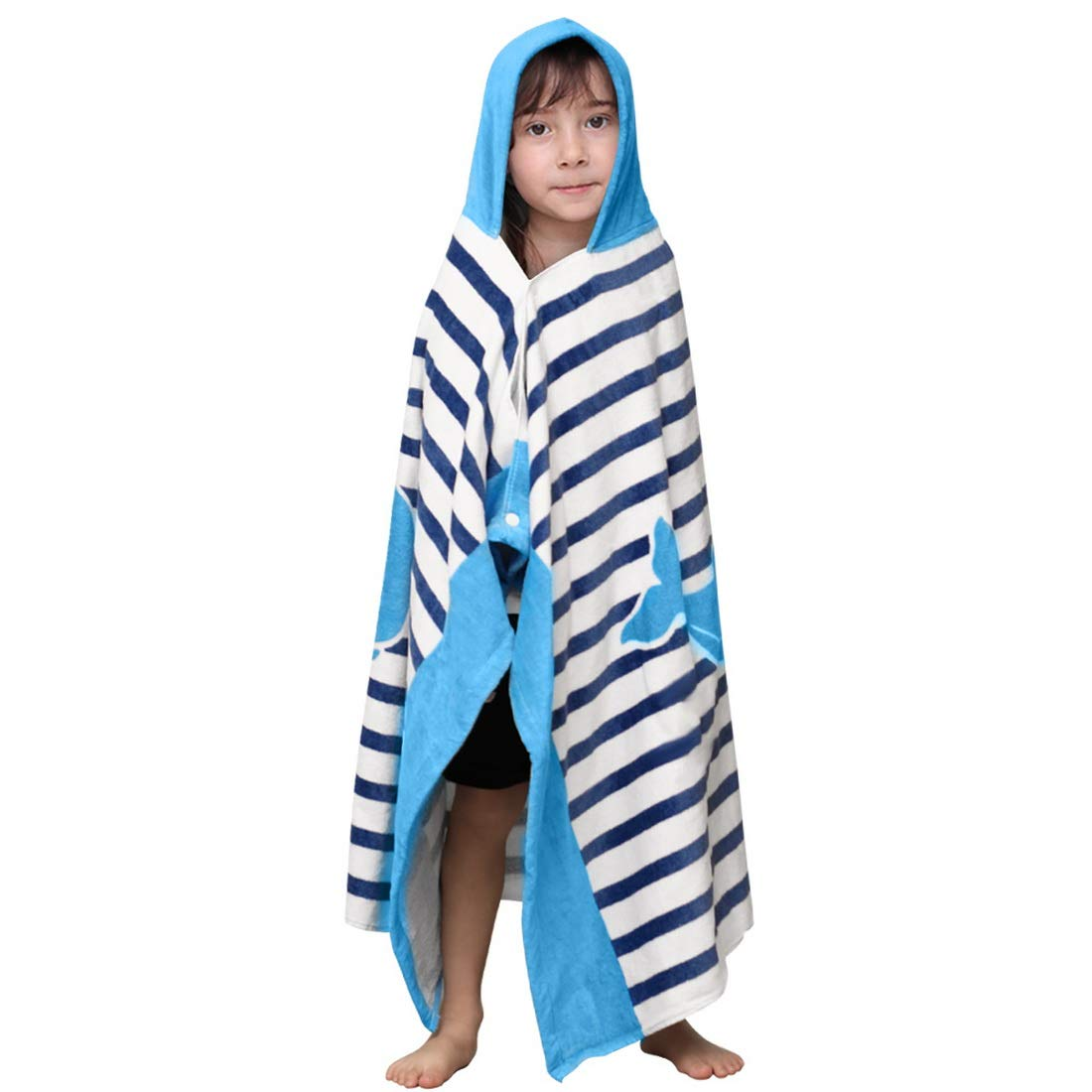 Hoomall Kids Bath Towel for Boys Girls, Whale Pattern Child Hooded Beach Towel Fast Drying Ultra Absorbent Poncho for Bath/Pool/Beach Swim Cover ups