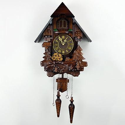 XKS Reloj De Cuco - Pájaro Mecánico Artesanal - Reloj De Jardín De Madera Maciza -