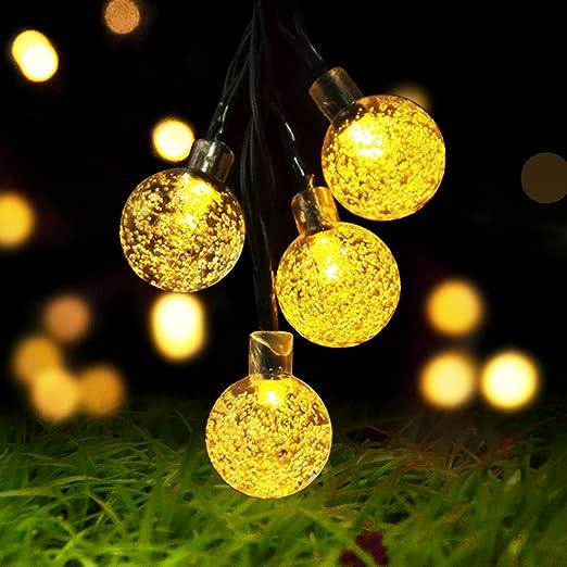 Luces solares de cadena al aire libre, bombillas de jardín Cshare 50 LED 7M 8 modos Jardín impermeable Bola de cristal Luces decorativas de hadas para jardín,árbol de Navidad,(blanco cálido): Amazon.es: Iluminación