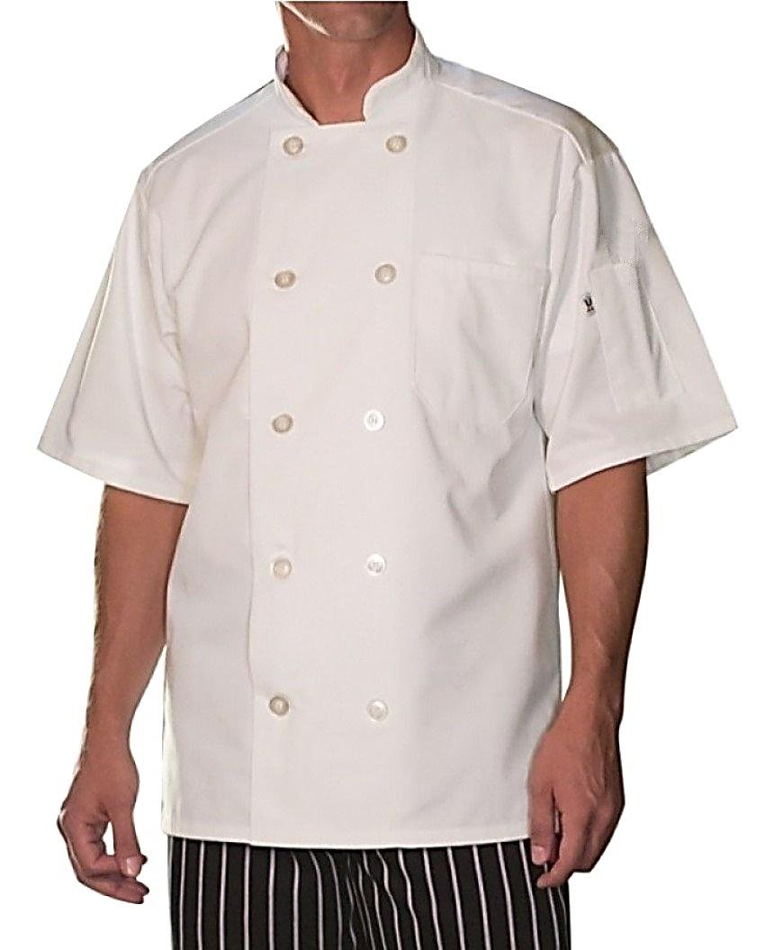 Uncommon Threads Short Sleeve Chef Coat in White - Large