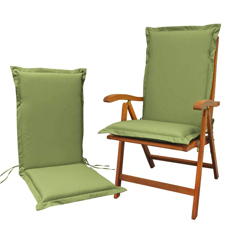 Indoba 2 x Sitzauflage Hochlehner Premium Polsterauflagen Grün