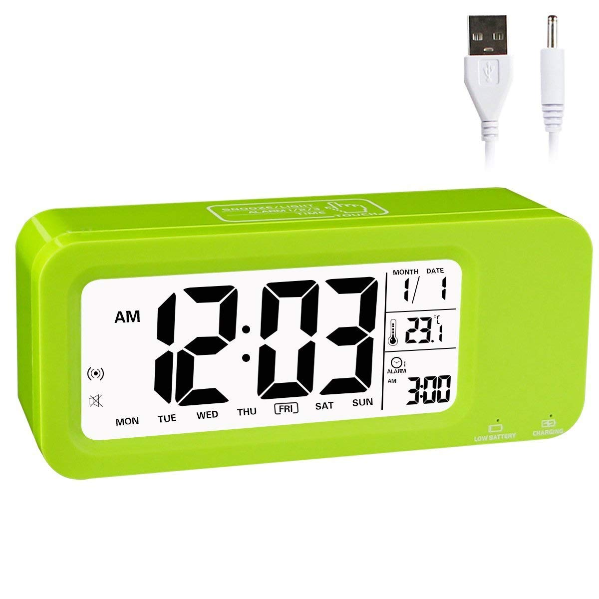 Aitey Alarm Clock for Kids, Talking Digital Clock with Built-in Rechargeble Battery, 3 Alarms, Low Light Sensor Technology for Girls and Boys (Green)