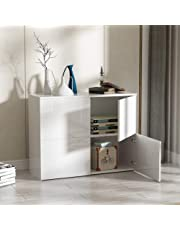 Sideboard High Gloss Cupboard Modern Design Side Storage Cabinet Chest Organiser Unit 4 Doors for Kitchen Lounge Living Room Furniture White, 92 × 35 × 71.6 cm