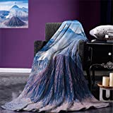 smallbeefly Volcano Digital Printing Blanket Bromo Batok and Semeru Volcanoes Java Island Indonesia Magma Activity Summer Quilt Comforter Light Blue Mauve White