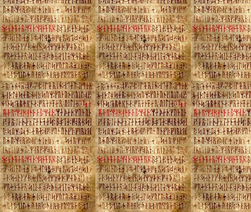 Rune Fabric Codex Runicus Orginal by Odinist Printed on Eco Canvas Fabric by the Yard by Spoonflower