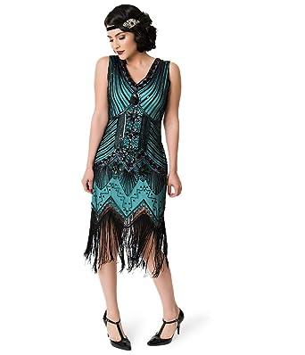 68100a0d9c2 Image Unavailable. Image not available for. Color  Unique Vintage 1920s Deco  Teal   Black Veronique Fringe Flapper Dress