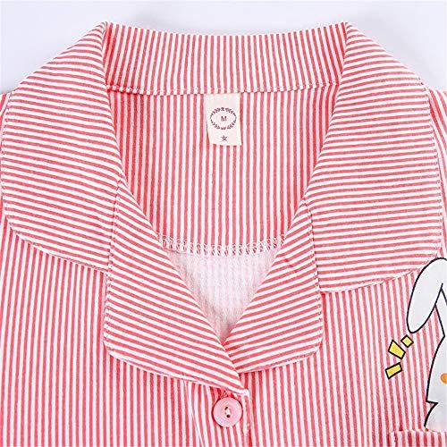 Rayas Larga Casero Piezas Algodón Dos Red Manga Pijamas Animados Mmllse Dibujos De Cardigan A qa8Cft